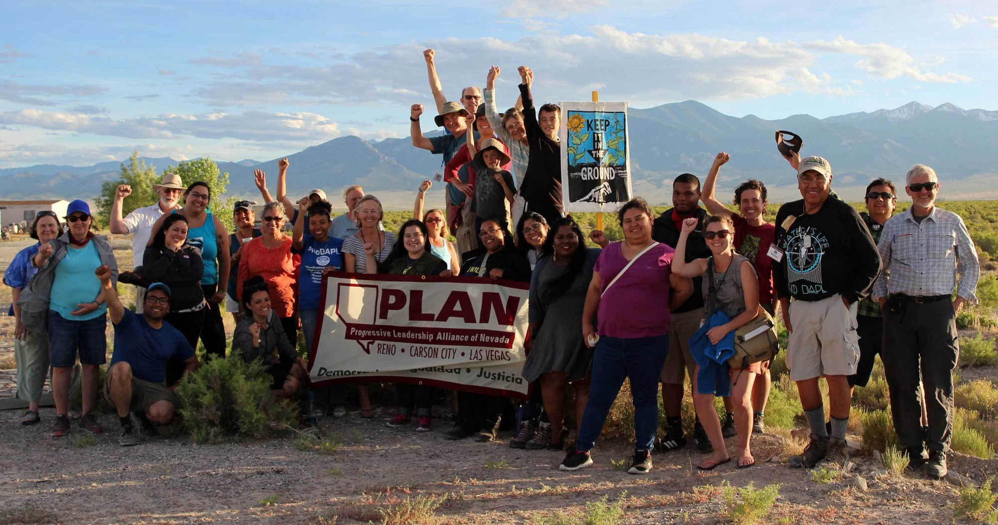 Team photo of PLAN, community organizers, and allies from throughout Nevada and the country during the First Water Tour of Nevada